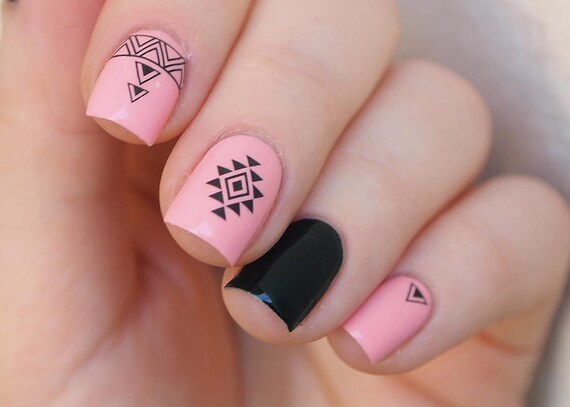 Set Of 2 Pcs Of Tribal Nal Decals Aztec Nail Stickers Black