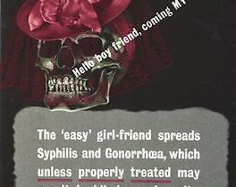 Second World War British Anti Syphillis Gonorrhoea Poster A3/A2 Print