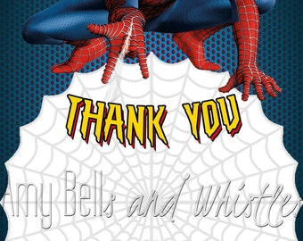 Spiderman Thank You Card - 6x4 Digital File - Instant Download