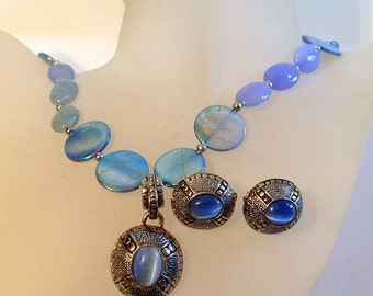 Blue Moonstone Necklace & Earrings Set - Moonstone And Sky Blue Mother-of-Pearl - Vintage Pendant -  - Clip On Earrings - One of a kind