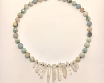 Quartz Crystal, Amazonite and Pyrite Necklace with Sterling Silver Toggle Clasp