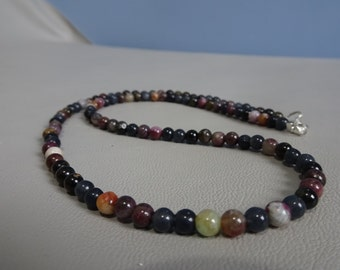 Men/woman beads necklace - Toermaline beads - 925 sterling silver - Boho - gemstone beaded necklace