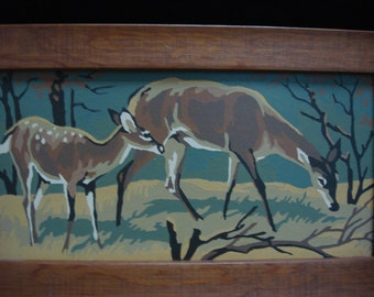 Vintage Set of 2 Paint by Number; Deer Family, Buck, Doe and Fawn, with Wood Frames