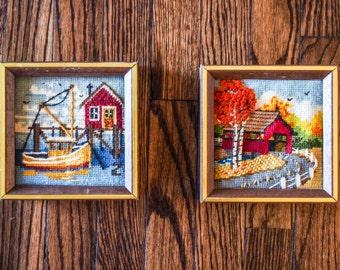 Two Cross-stitch Vintage Frames