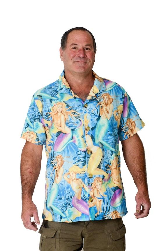 Feak Shirt for Men Mermaid Print, Hawaiian Shirt, Hawaiian Shirt Men, Mens Hawaiian Shirt, Tropical Mermaid Shirt, Summer Surf Shirt