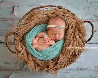 SET Taupe Faux Flokati Fur and Mint Stretch Knit Wrap Newborn Baby Photography