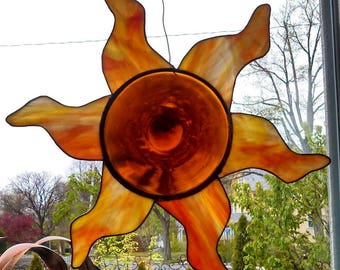Sun Stained Glass 15 to 16 Inches Across