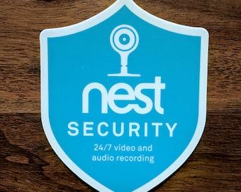 Nest Security Cam Badge/Shield sticker (outdoor or indoor)