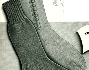 1950's Men's Mid Century Knitted Socks  PDF Pattern Instant Download