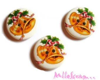 Set of 3 large buttons decorated Christmas 30 mm scrapbooking embellishment 6 *.