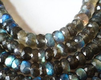 Labrodrite Faceted Roundel Machine Cut Size 7 mm String Lenth Is 7'' inch Total 1 String .