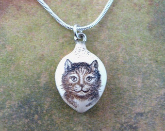 Tiny cat kitten scrimshaw technique resin pendant necklace