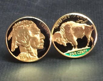 USA enameled coin cufflinks Old Buffalo and indian head nickel Gold plated and enameled 21mm
