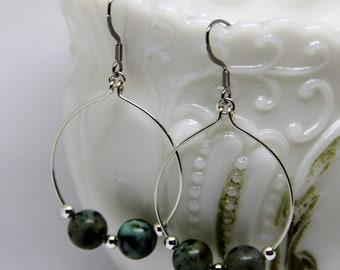 Hand Crafted, Silver Hoop Earrings, African Turquoise Beads, Silver Accent beads