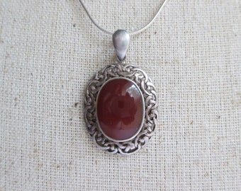 Carnelian and Sterling Silver Filigree Necklace