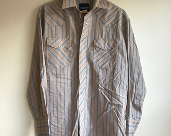 1970s Vintage Tan Striped Wrangler Button Down Shirt Men's Medium