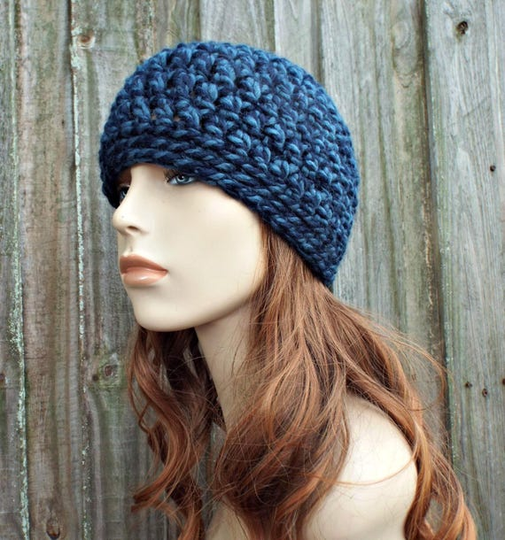 Mixed Blue Beanie Blue Hat - Crochet Womens Hat Blue Mens Hat - Blue Womens Hat Warm Winter Hat - READY TO SHIP