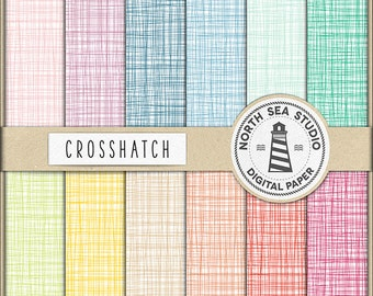 Crosshatch Digital Paper Pack | Scrapbook Paper | Crosshatch Pattern | Printable Backgrounds | 12 JPG, 300dpi Files | BUY5FOR8