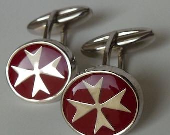 Sterling Silver 925 Maltese Cross Order of St.John Cufflinks