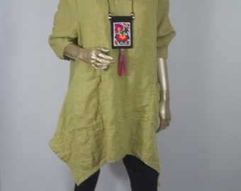 "Linen tunic,  lagenlook, pistachio green, flax, Bust 54"", top, shabby chic, layered look. Free shipping in USA."