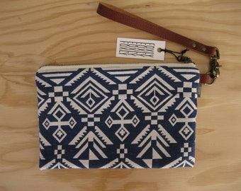 Blue and White Diamond Clutch - Geometric Fabric with Detachable Brown Leather Detachable Strap, Wristlet Bag