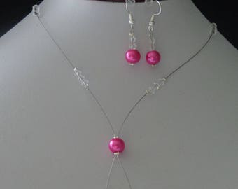 set necklace bracelet earrings Fuchsia Crystal 925 sterling silver beads