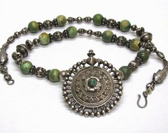 "Antique Indian Necklace, Madhya Pradesh Silver Earplug Earring Pendant, Chinese Turquoise, Sri Lanka Silver Beads, 65cm (25 1/2""), 105 Grams"