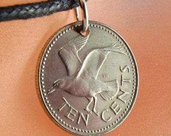 Barbados COIN NECKLACE . Seagull charm. Barbados pendant jewelry. tern. sea. johnathon livingston seagull. harbinger of spring.  1205