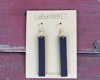 leather strip earrings // black