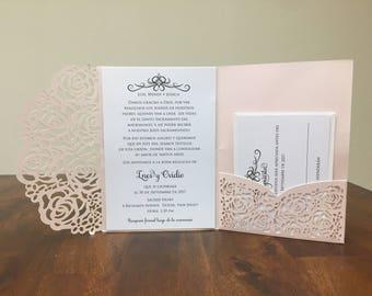 SPANISH Laser Cut Wedding Invitations Español Pocket Wedding invitation Die Cut Laser Cut Traditional Blush Shimmer Wedding Invites Laser