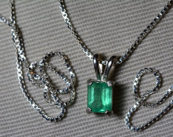 Emerald Necklace, Colombian Emerald Pendant 0.65 Carat Appraised 575.00, Sterling Silver, Certified Emerald Cut Jewelry, Real May Birthstone
