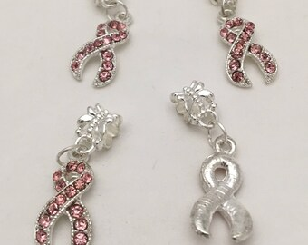 Pink Rhinestone Breast Cancer Awareness Ribbon Charms