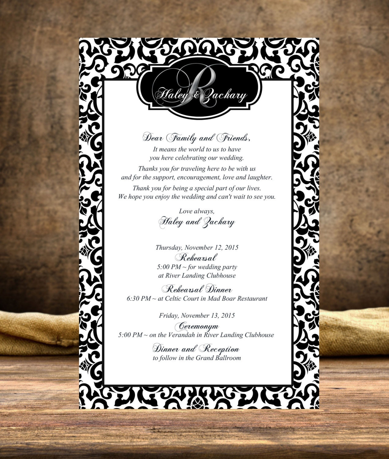 20 Custom Wedding Stationary Itinerary Welcome Letter