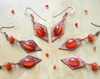 Long earrings from cat eye glass, electroformed, copper earrings, cat eye glass earrings, statement earrings