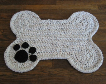 Crochet PATTERN - Dog Bone Placemat; Pet Food Bowl Floor Mat Rug; Dog Crate Mat Rug; Bone Shape Mat Rug; Paw Print!; PDF download file