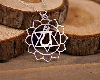 Heart Chakra Necklace - Sterling Silver Hand Cut Pendant, 4th Chakra, Anahata