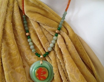Jade and Quartzite necklace set