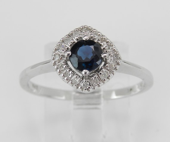 SALE Sapphire and Diamond Halo Engagement Ring Promise Ring White Gold Size 7 Sizable September Birthstone