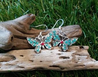 Silver butterfly dangle earrings