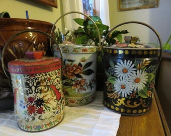 Lot of Three Beautiful, Vintage, Floral Tin Containers- Lids and Handles- All Made in England- Regal Crown, Murry-Allen Imports
