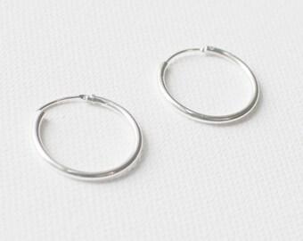 20mm Sterling Silver Earrings, Hoop Earrings, Simple Earrings, Silver Earrings, Everyday earrings, silver hoop, bridesmaid gift