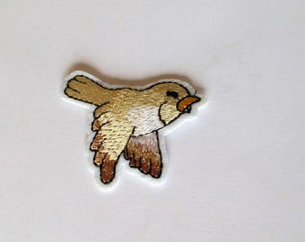Little Gold Bird Patch - iron on or sew on