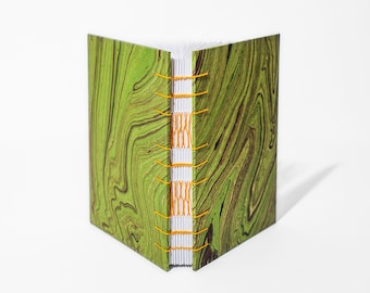 Green Waves Journal | Freeform Marble, Coptic & French Link Stitch, Medium