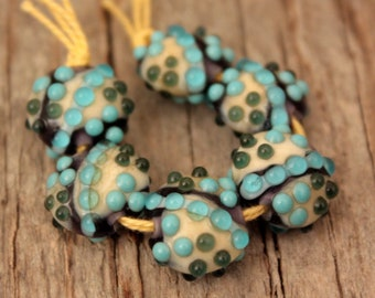Mini Lentils #5- A set of 6 lampwork beads