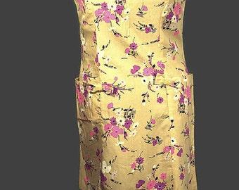 1960 Sweet Cotton Dress. Vintage Sleeveless Shift, NOS, Plus Size.