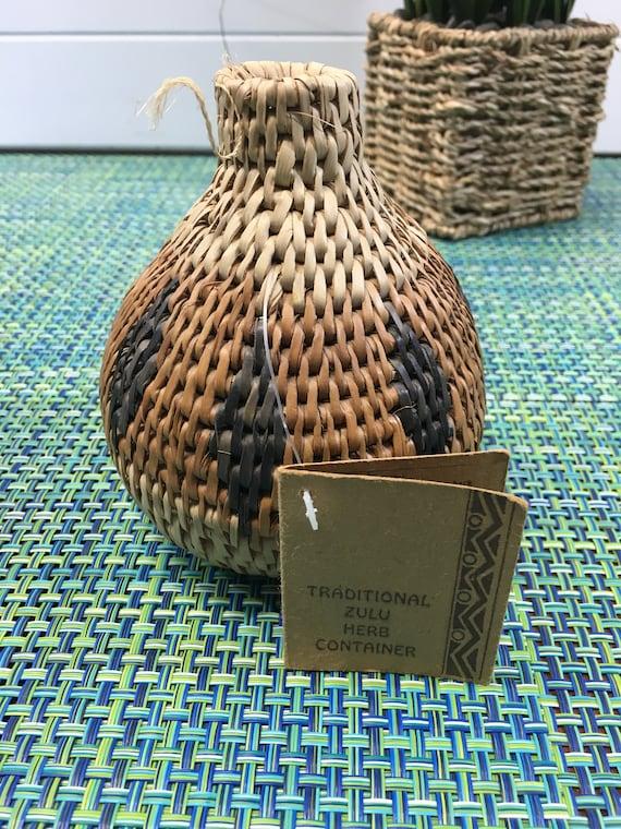Zulu African Woven Herb Container Basket 5
