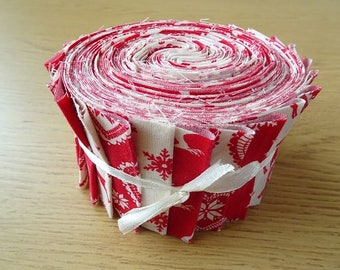 40 Jelly Roll Strips 100% Cotton Patchwork Fabric ~ Christmas Red