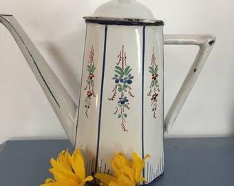 Deco French enamel coffee pot