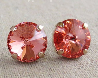 Swarovski Light Coral Spike Cut Round Crystal Chaton Rose Gold Post Earrings Wedding Bridal Jewelry Bridesmaid Gifts