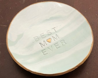 Best Mom Ever, Marbled Ring Dish, Clay Ring Dish, Ring Holder, Trinket Dish, Jewelry Dish